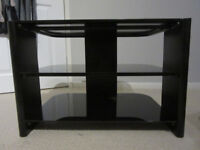 BLACK TV STAND IN GLASS AND WOOD
