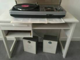 1980s record player, stereo deck with speakers and cassette player
