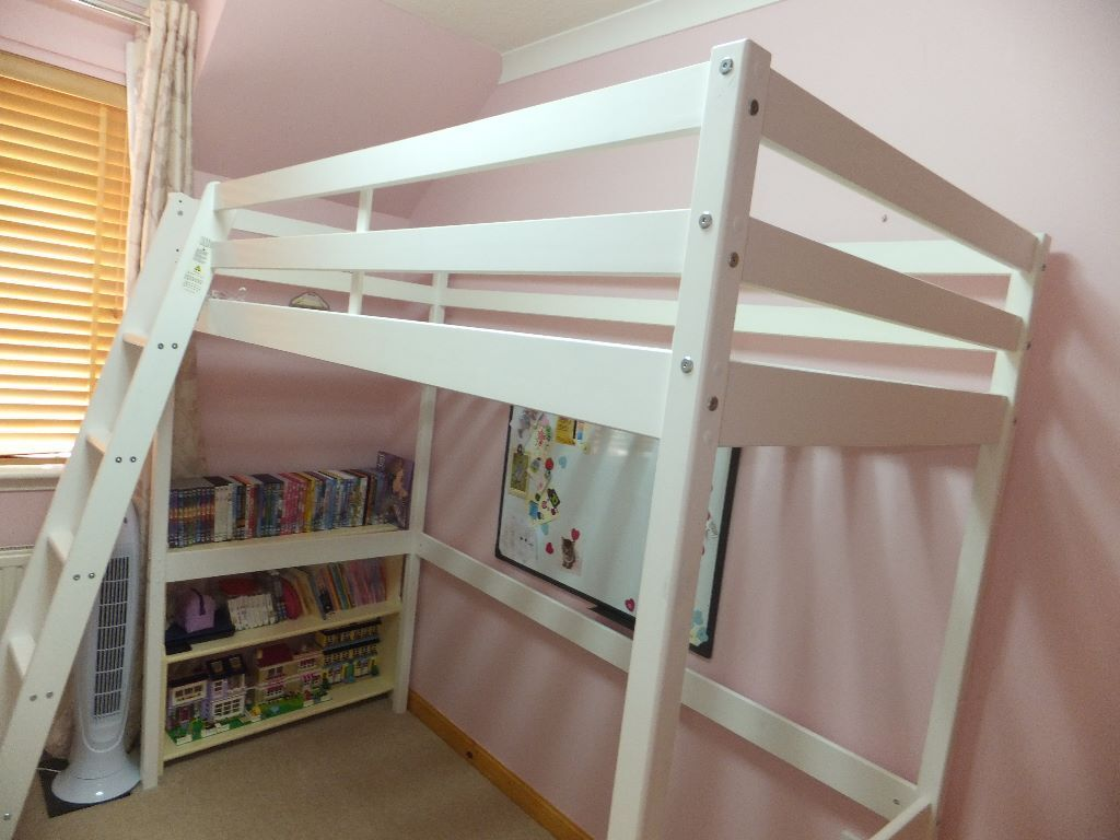 Argos high riser sleeper loft single bed white wood with for Bunk beds with mattresses included