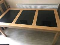 Large Oak Wood and Granite Dining Table