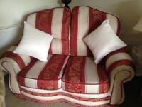 2 Seater luxury burgundy & Beige 2 cushions