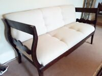 Large antique sofa from Portugal, light fabric, renovated to high standard