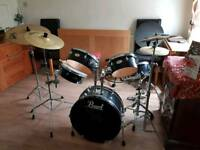Pearl Drum kit- X2 extra symbols, X2 sets of drum sticks, full set of silencers, symbol bag