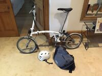 Super light white Brompton 6ML folding bicycle - titanium and steel, 6 gears.