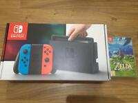 Nintendo Switch NEON with Zelda BoTW game and receipt!