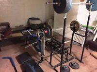 weight training equipment complete bench press , weights , barbells , spring extenders