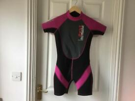 Children's/kids Pink & Black NALU shortie WETSUIT- 32inch Chest- Excellent Condition