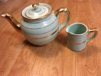 Small Green Sadler Teapot & Jug