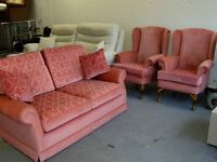 3 Piece Suite. 2 Queen Anne Style Fireside Chairs and Sofa Bed Settee. Excellent condition