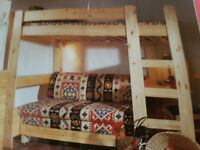 bunk bed with built in sofa, pull out bed, and desk £90. made by stompa
