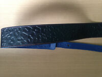 Top quality black and blue leather engraved Guitar Strap made in Canada by Levy's Leather BNWOT