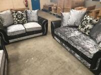 Brand new 3 + 2 black and silver grey crushed velvet sofa suite