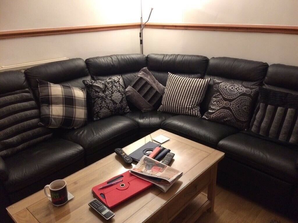 Dfs Black Leather 5 6 Recliner Seater Corner Sofa In
