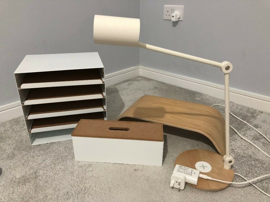 Ikea Desk Accessories Lamp Letter Tray Monitor Stand Cable Management Box