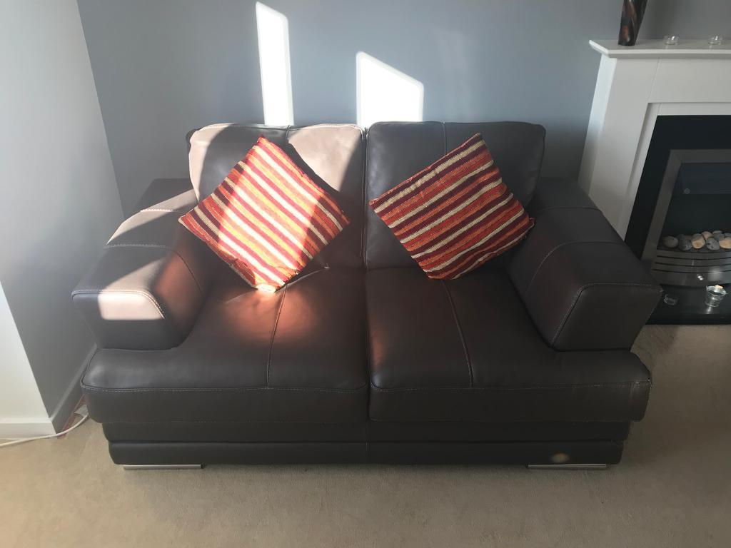 2 x Brown Leather Sofas Italian leather 2 seater