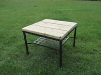 Plank Top Metal Coffee Table with Magazine Rack