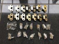 Union polished brass strike plate & face plates & screws x14