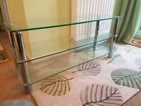 Large Glass tv stand with silver legs