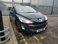 Peugeot 308, 2010 year low mileage of 68000 5 door black