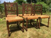 Antique oak dining chairs with rush seats