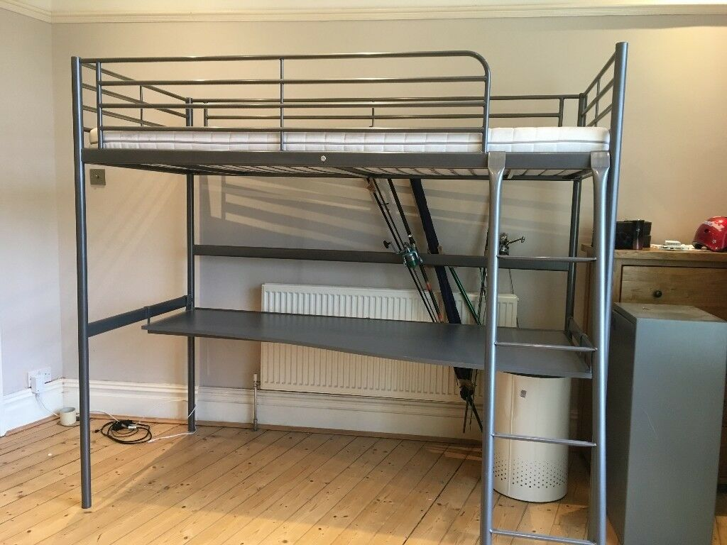 Loft Bed With Desk Ikea Svarta Superb Cond Gbp 60