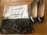 LK Bennett Sledge Grey Court Shoes & Matching clutch bag.