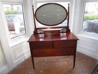 Antique Mahogany Dressing Table with Beveled Mirror