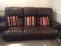 3 piece reclining leather sofa with 2 reclining arm chairs