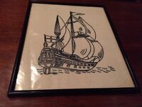 Tapestry picture of sailing boat, framed, 27cm by 31cm