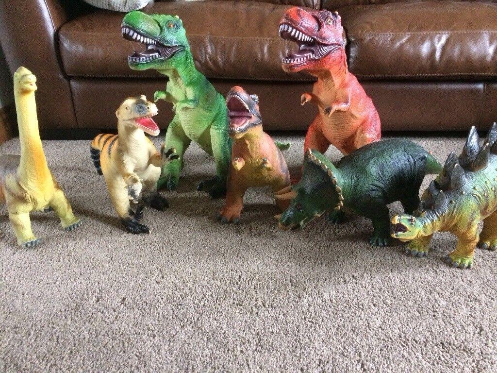 Large toy dinosaurs