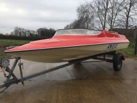 14FT SIMMS SUPER V SPEED BOAT WITH ORIGINAL TRAILER