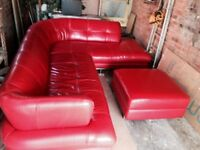 Real leather corner sofa and storage footstool in red leather