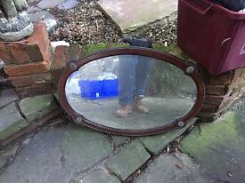 Oval oak mirrors