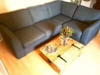 Quality DFS, right hand corner facing, sofa 4 seats dark blue/grey