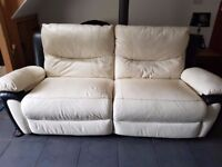 LEATHER RECLINING 3 SEATER & 2 SEATER SOFAS BLACK & CREAM EXCELLENT CONDITION NO RIPS OR TEARS