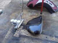 3 QUALITY GOLF CLUBS A DRIVER WITH GRAPHITE SHAFT A HAMMER HEAD PUTTER A METAL HEAD 3 WOOD CAN DELIV