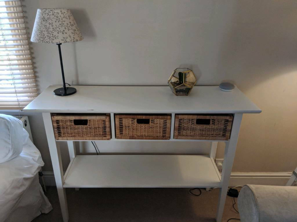 White Console Table With Wicker Basket Draws In Putney London