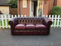 Classic Oxblood Red Leather Chesterfield 3-Seater Sofa