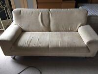 Large 2 Seater Designer Cream/Beige Material Sofa For Sale - Chrome Bar