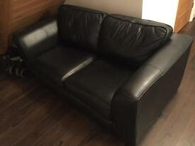 Black leather 2seater sofa