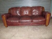 Large Mahogany Brown 3-seater Leather Sofa
