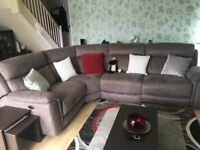 Corner electric recliner sofa. Grey suede effect. Only 10 mths old! As new!