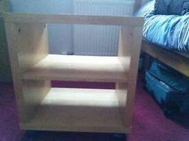 TV/ side table on castors. Ikea Lack. Birch.