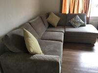 Large DFS light mink right hand corner sofa - less than 12 months old, excellent condition