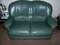 2 seater green leather sofa x 2 and rocker/recliner green leather chair