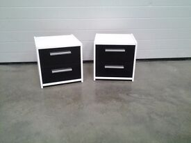 Ex display excellent pair bedside cabinets. 2 drawers White black gloss fronts. Bargain can deliver.