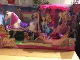 Barbie pop up canopy carriage with horse