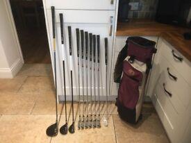 Golf clubs - Driver, 3 Wood, Rescue Club, Irons, Putter, Golf Bag, Golf Glove, Golf balls and tees