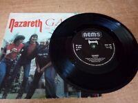 NAZARETH VINYL RECORDS 45 RPM INCLUDING VERY RARE PROMOS.