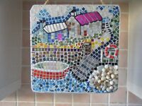 original work, mosaic art wall hanging by local mosaic artist, glass tile and mixed media